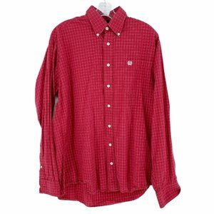 Cinch Men's Red Check Long Sleeve Button Down